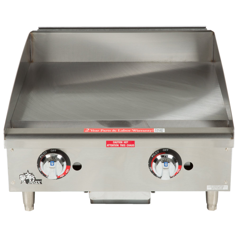 "Star Max 624TSPF 24"" Thermostatic Control Gas Countertop Griddle with Safety Pilot - 56,600 BTU"