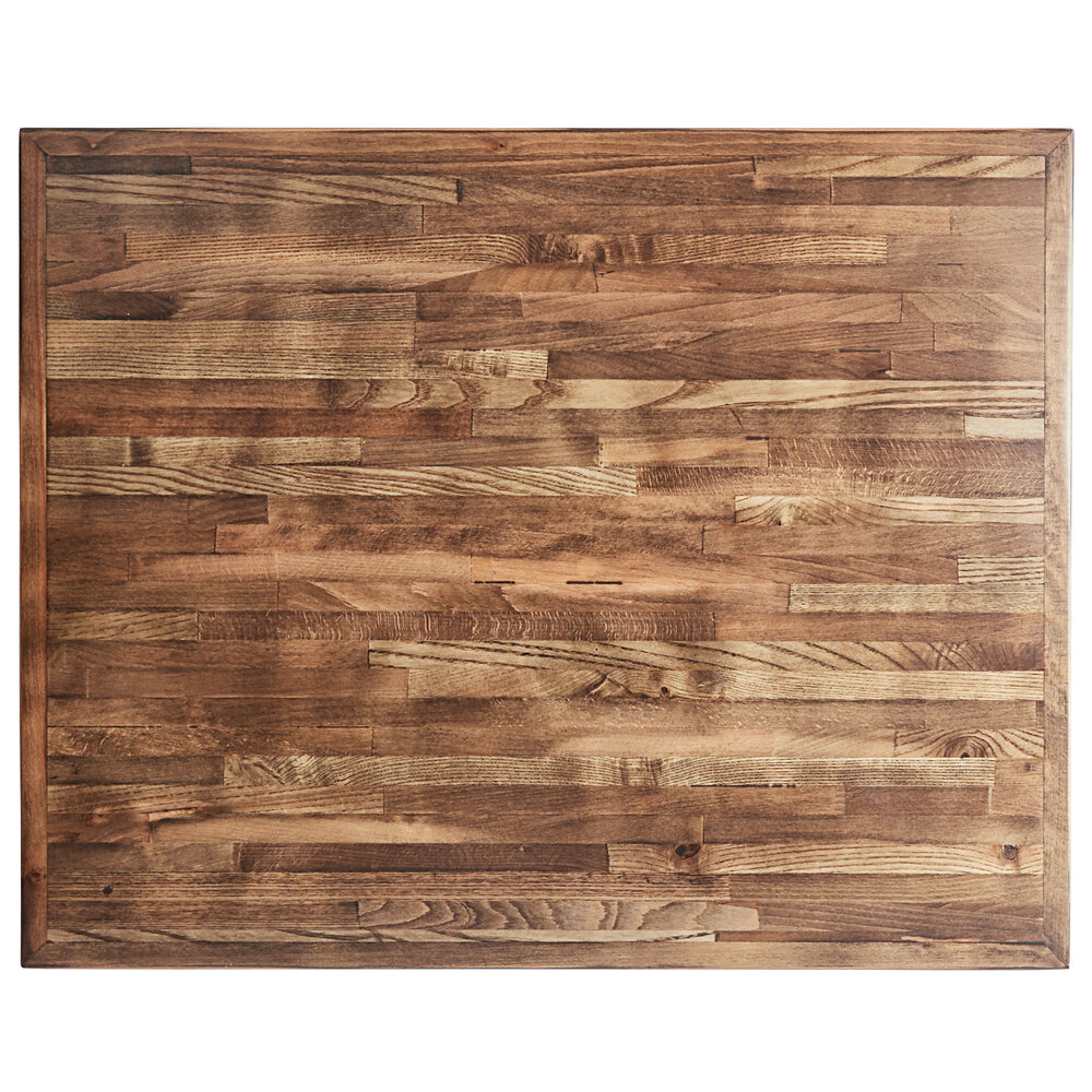 Reclaimed Century Old Wood Table Top Dark Brown Finish 24 x 30
