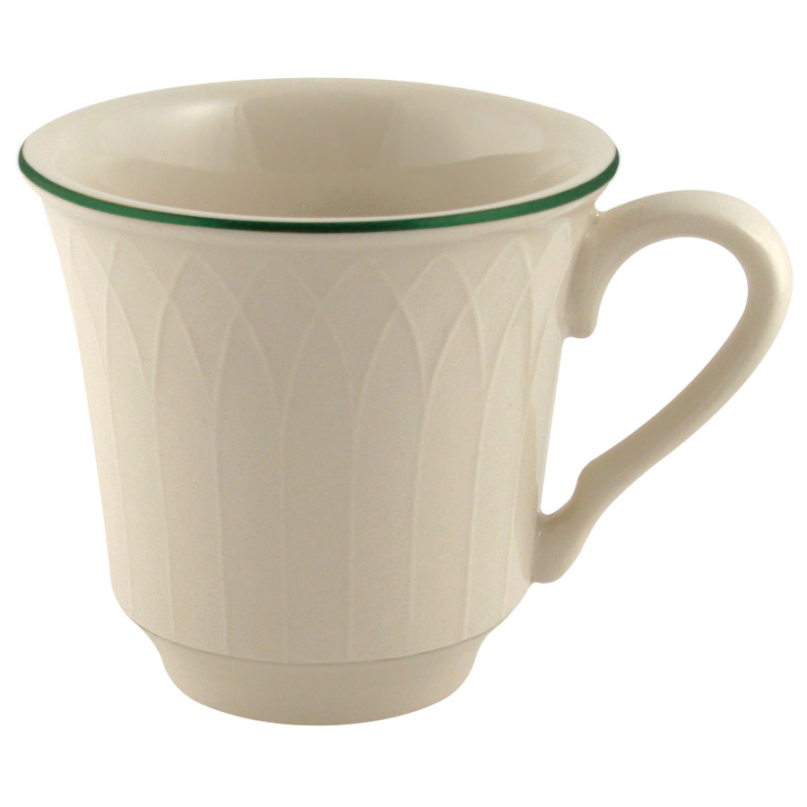 Homer Laughlin 1430-0331 Green Jade Gothic Off White 7.5 oz. China Cup - 36/Case