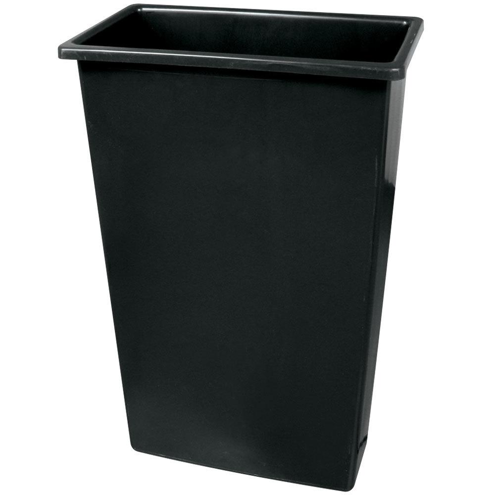 Continental 8322bk 23 Gallon Wall Hugger Black Trash Can