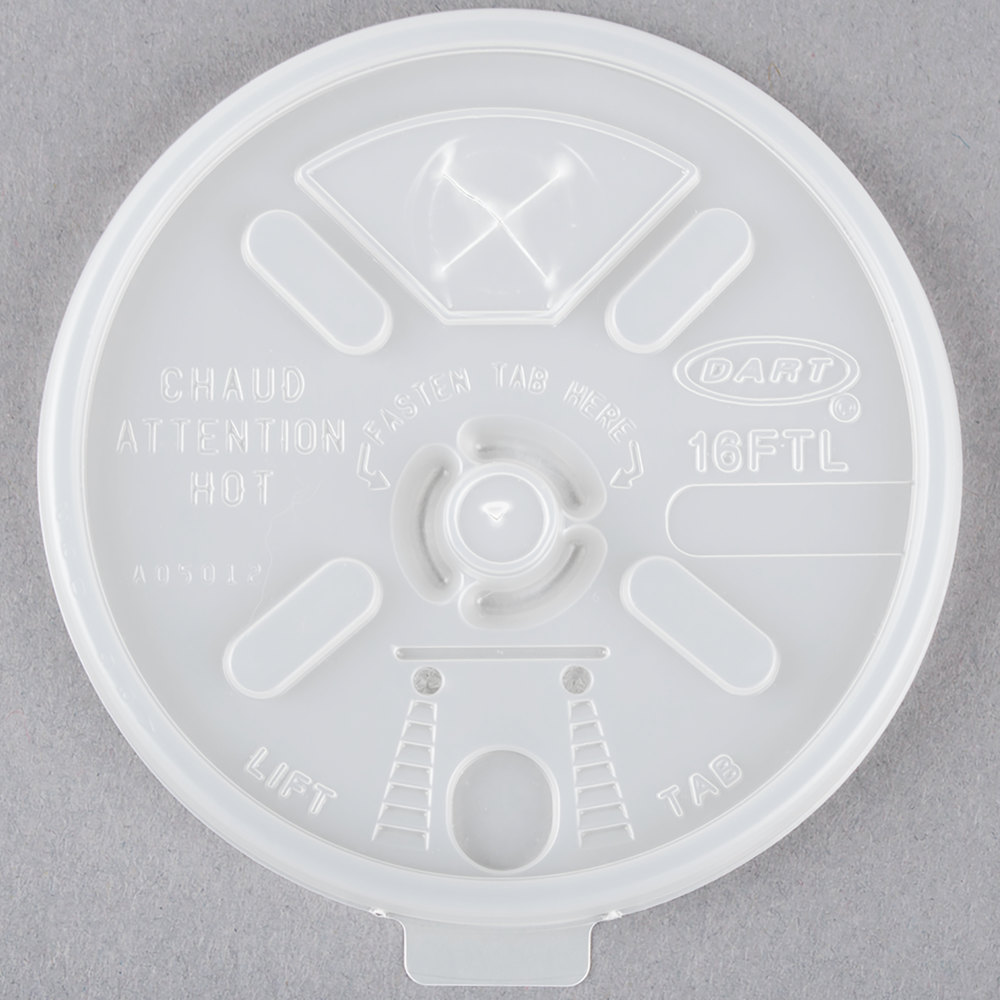 Dart 16FTLS Translucent Lift'n'Lock Lid With Straw Slot - 1000/Case