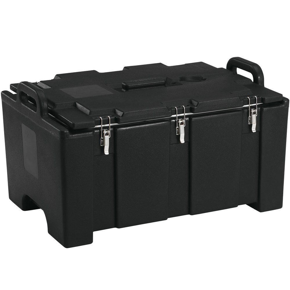 "Cambro 100MPC110 Camcarrier Black Top loading Pan Carrier with Handles for 12"" x 20"" Food Pans"