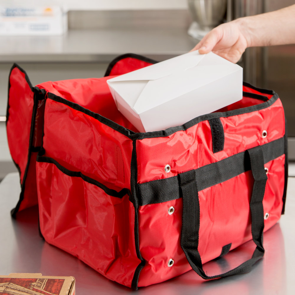 "American Metalcraft PBSB1512 15"" x 9"" x 12"" Red Deluxe Insulated Nylon Sandwich Delivery Bag"