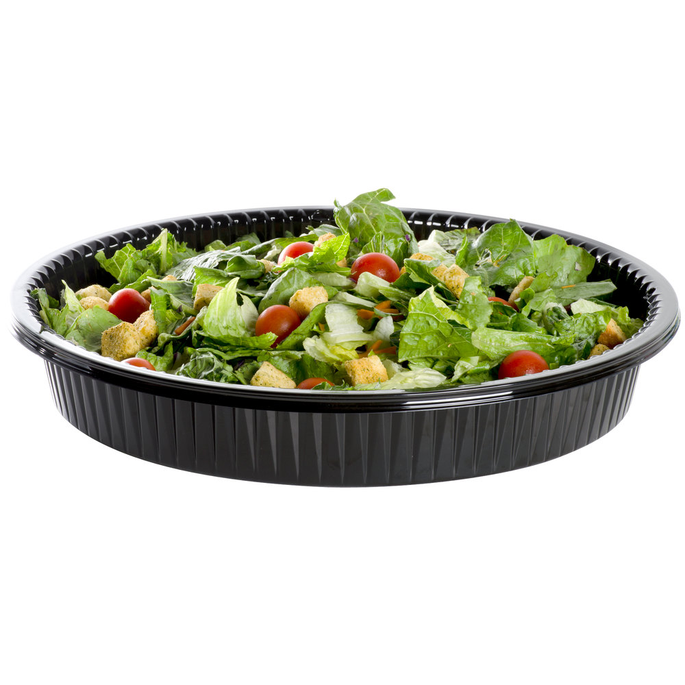 "WNA Comet ADEEP516BL Caterline Casuals Black 16"" Deep Tray / Platter - 5/Pack"