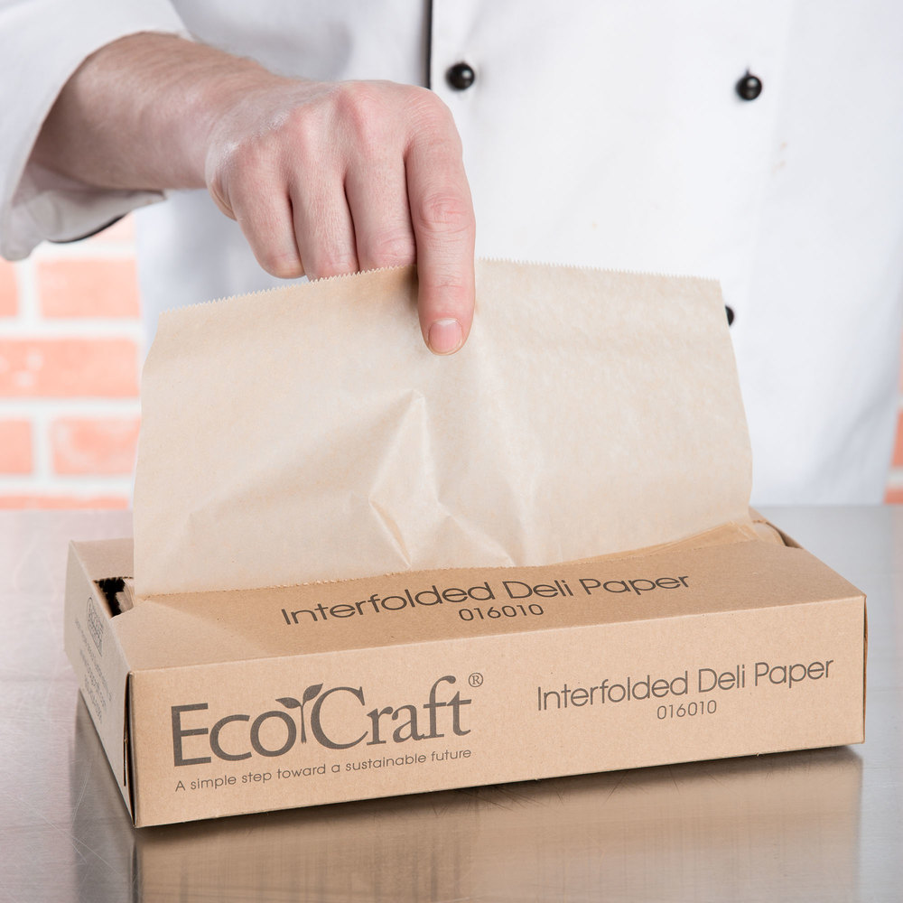 "Box of 500 Bagcraft Papercon 016010 10 3/4"" x 10"" EcoCraft Interfolded Dry Wax Deli Paper"