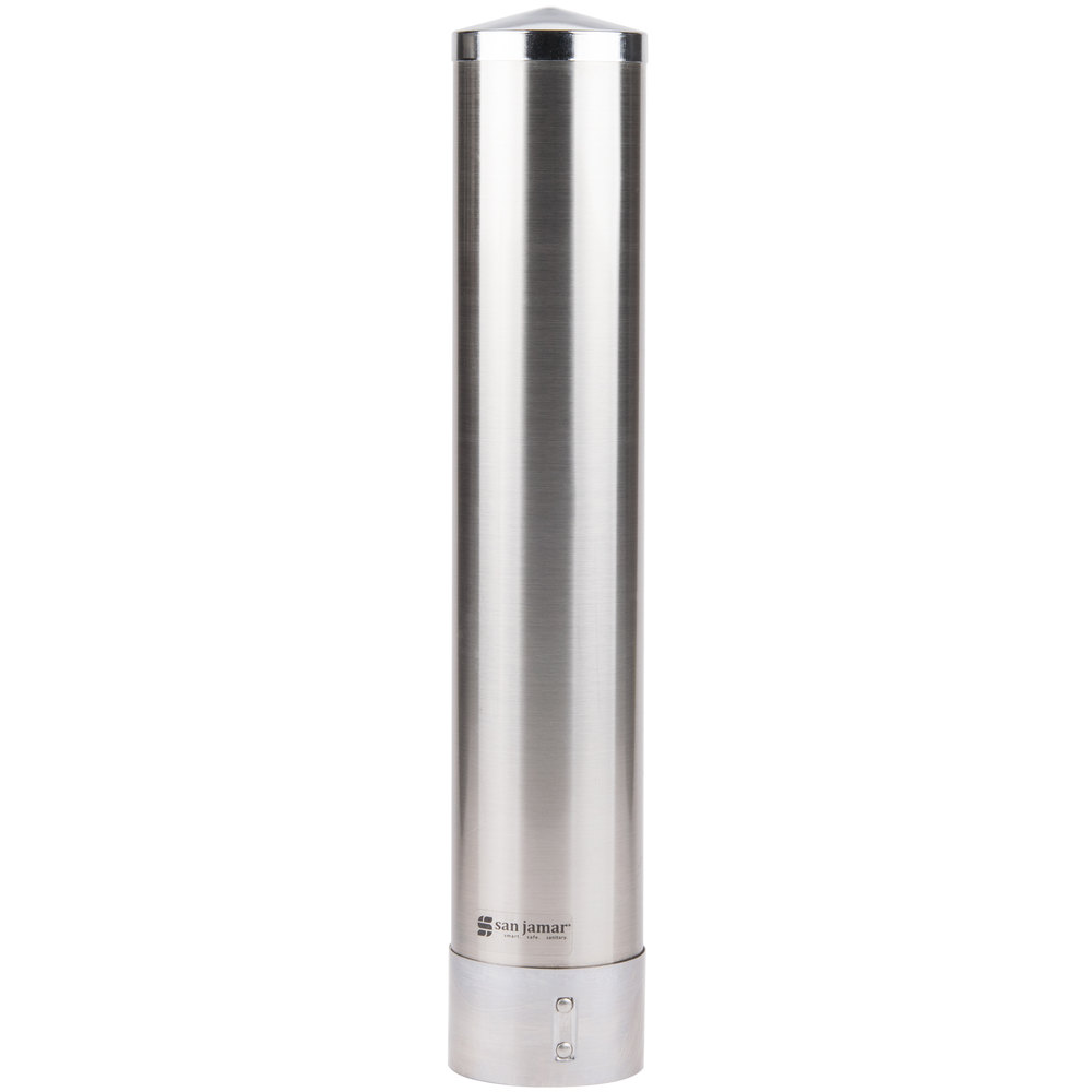 San Jamar C3250SS Gravity Pull-Type Paper Cone Cup Dispenser - Stainless Steel