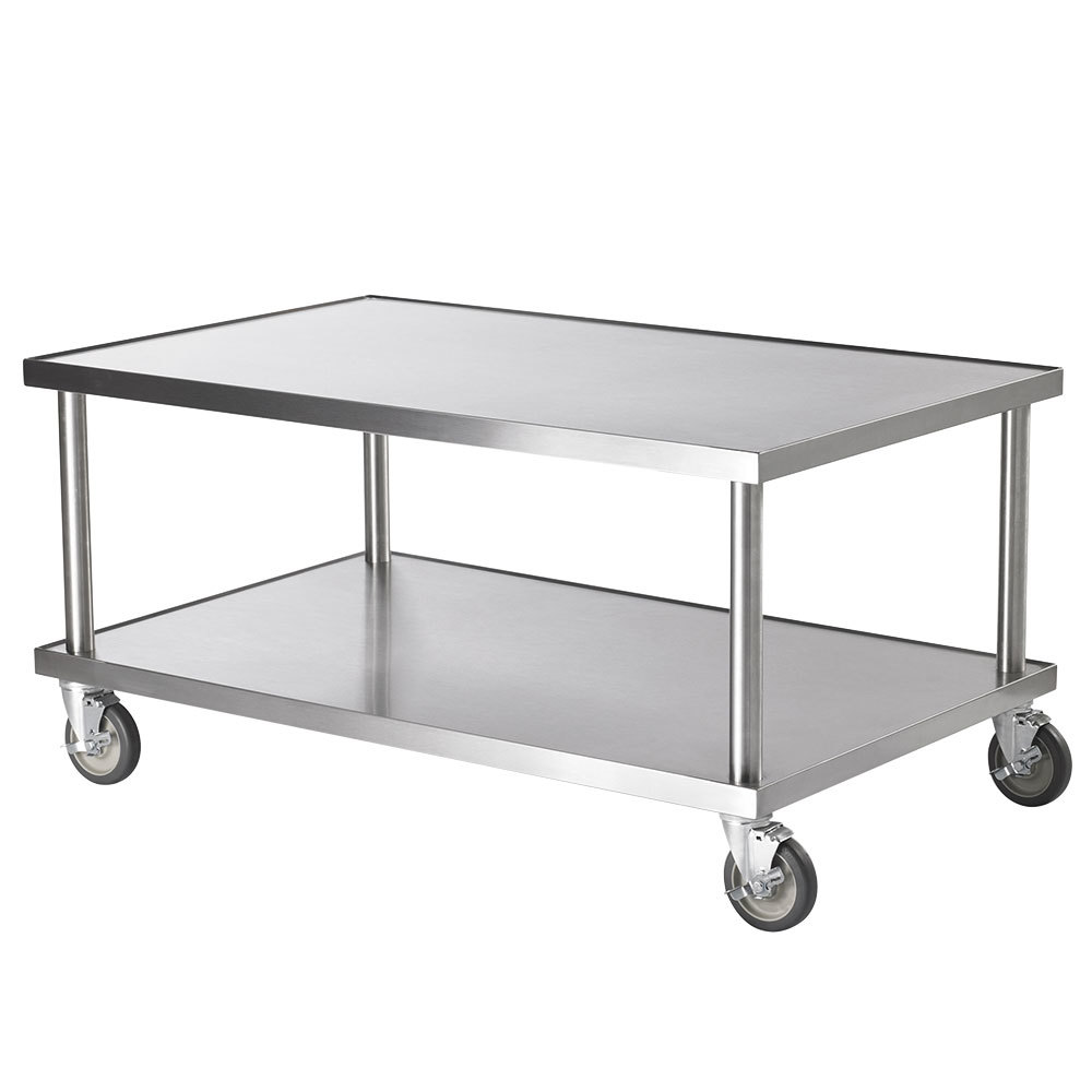 "Vollrath 4087948 48"" x 30"" Stainless Steel Heavy Duty Mobile Equipment Stand with Undershelf and Casters"