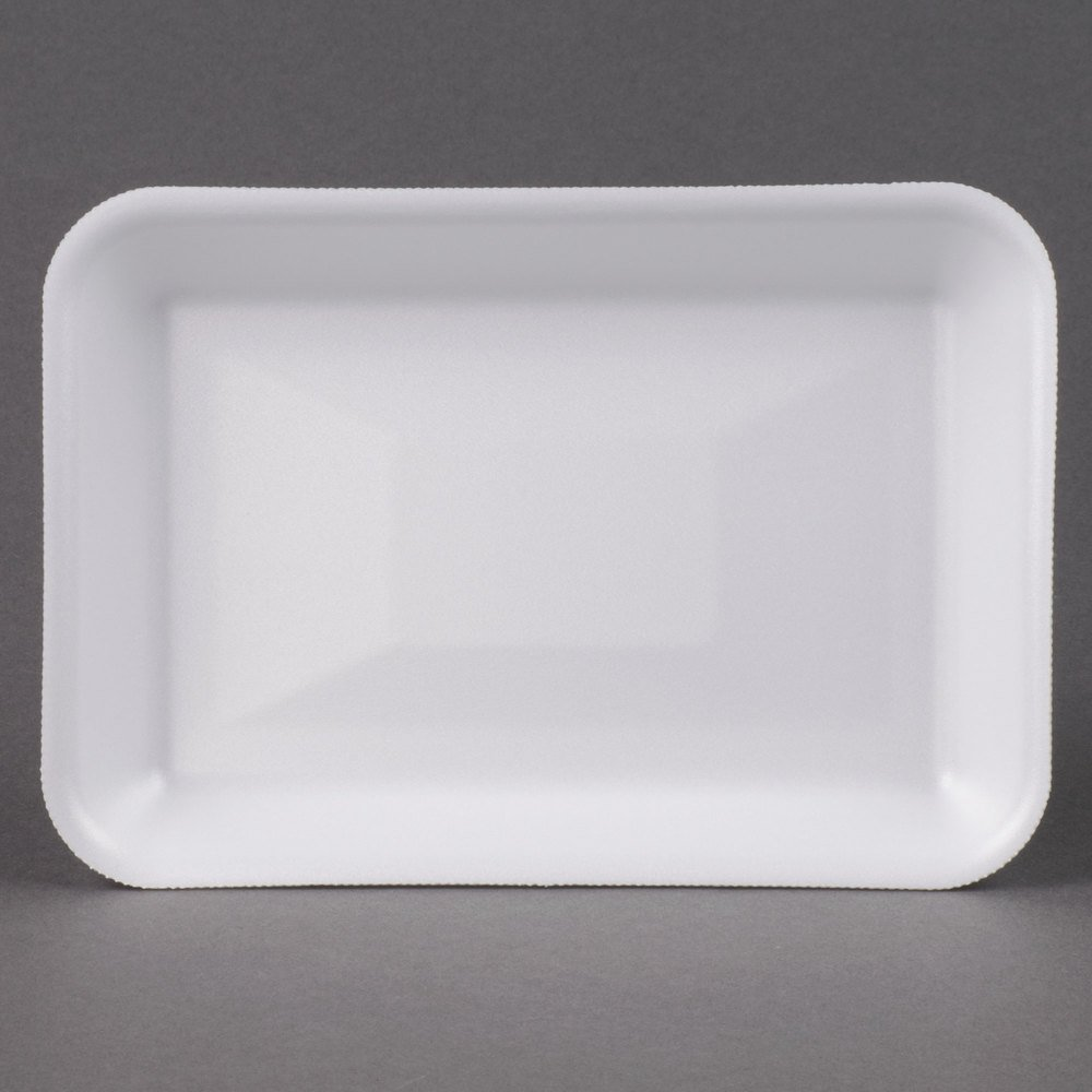 "Genpak 1002 (#2) White 8 1/4"" x 5 3/4"" x 1"" Foam Supermarket Tray - 500/Case"