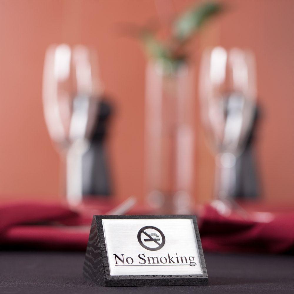 "American Metalcraft SIGNS7 Black Wood ""No Smoking"" Sign - Double-Sided"