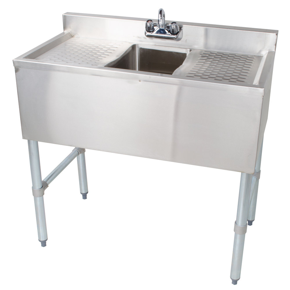 "Regency 1 Bowl Underbar Sink with Faucet and Two Drainboards - 36"" x 18 3/4"""