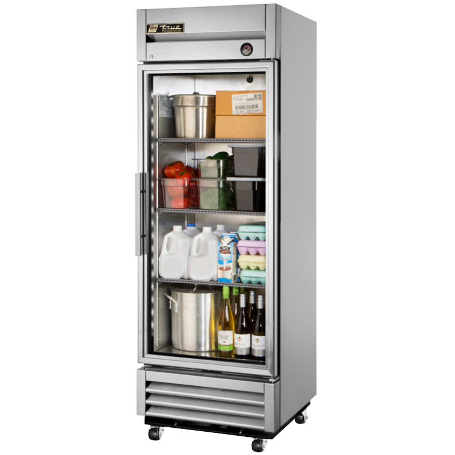 "True T-19G-LD 27"" Single Glass Door Reach In Refrigerator with LED Lighting"