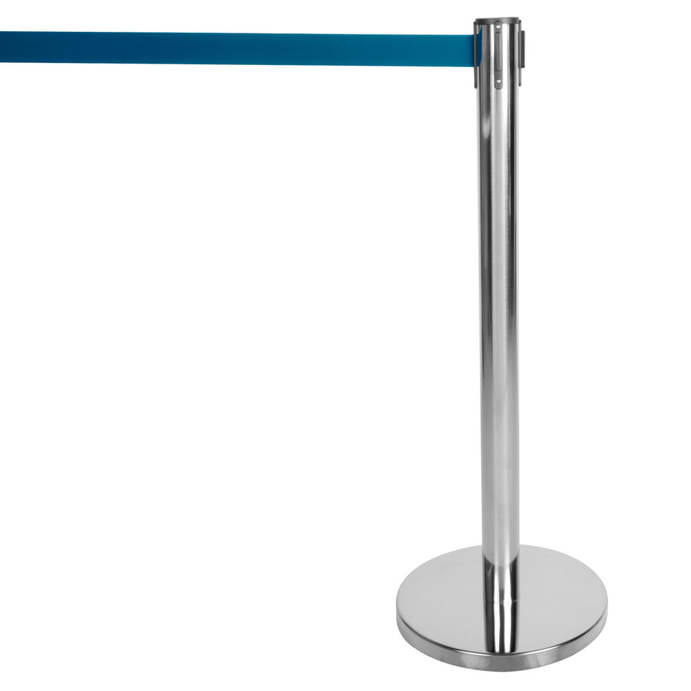 "Aarco HC-7 Chrome 40"" Crowd Control / Guidance Stanchion with 84"" Blue Retractable Belt"