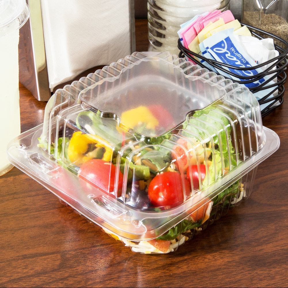 "Durable Packaging PXT-505 Duralock 5"" x 5"" x 3"" Clear Hinged Lid Plastic Container - 500/Case"