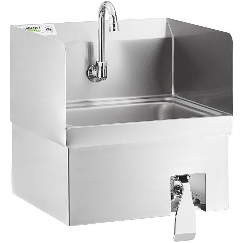 Regency 17 inch x 15 inch Hands-Free Hand Sink with Knee Operated Valve and Side Splashes