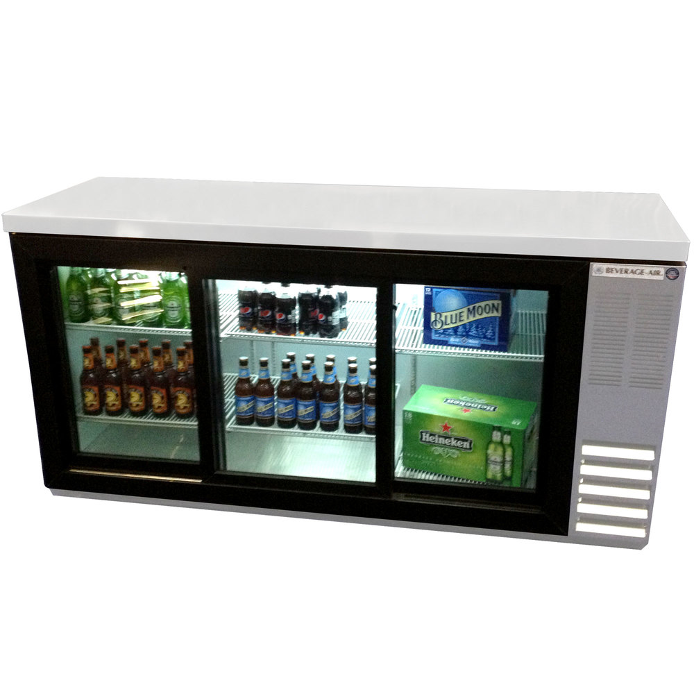 "Beverage Air BB72GSY-1-S-LED 72"" Stainless Steel Back Bar Refrigerator with Sliding Glass Doors - 115V"