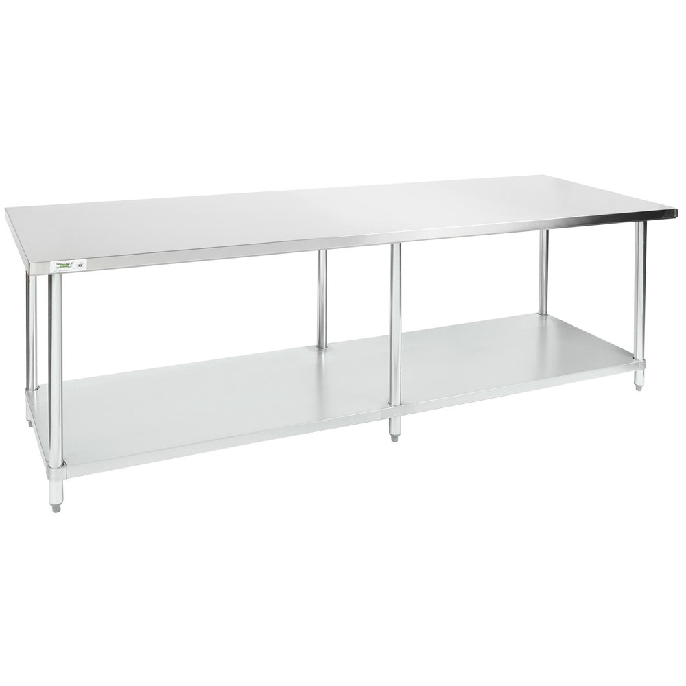 Regency 30 inch x 96 inch 18-Gauge 304 Stainless Steel Commercial Work Table with Galvanized Legs and Undershelf