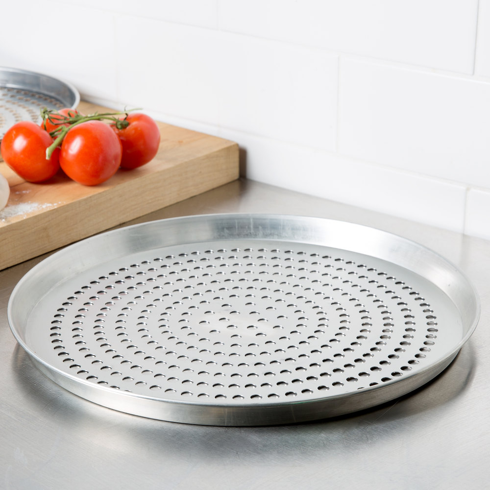 "American Metalcraft TDEP16SP 16"" x 1"" Super Perforated Tin-Plated Steel Tapered / Nesting Deep Dish Pizza Pan"
