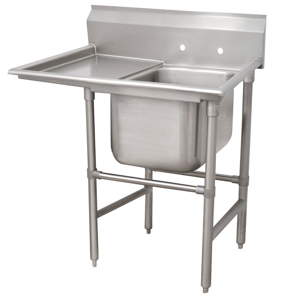 Left Drainboard Advance Tabco 94-21-20-36 Spec Line One Compartment Pot Sink with One Drainboard - 62""