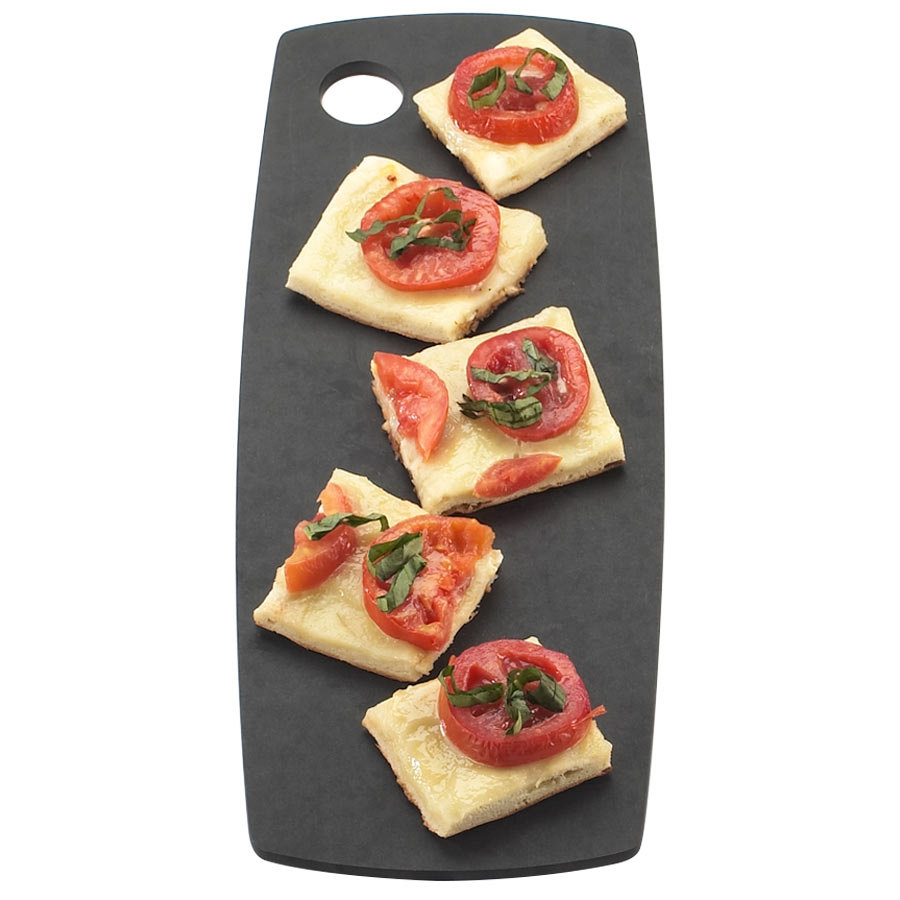 "Cal-Mil 1531-616-13 Black Round Edge Rectangle Flat Bread Serving Board - 16"" x 6"" x 1/4"""