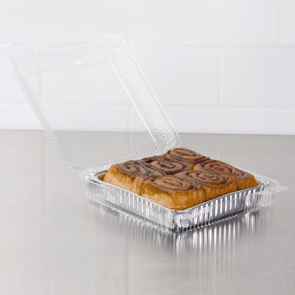"Dart PET55UT1 StayLock 9"" x 8 5/8"" x 3"" Clear Hinged PET Plastic Large Container - 200/Case"