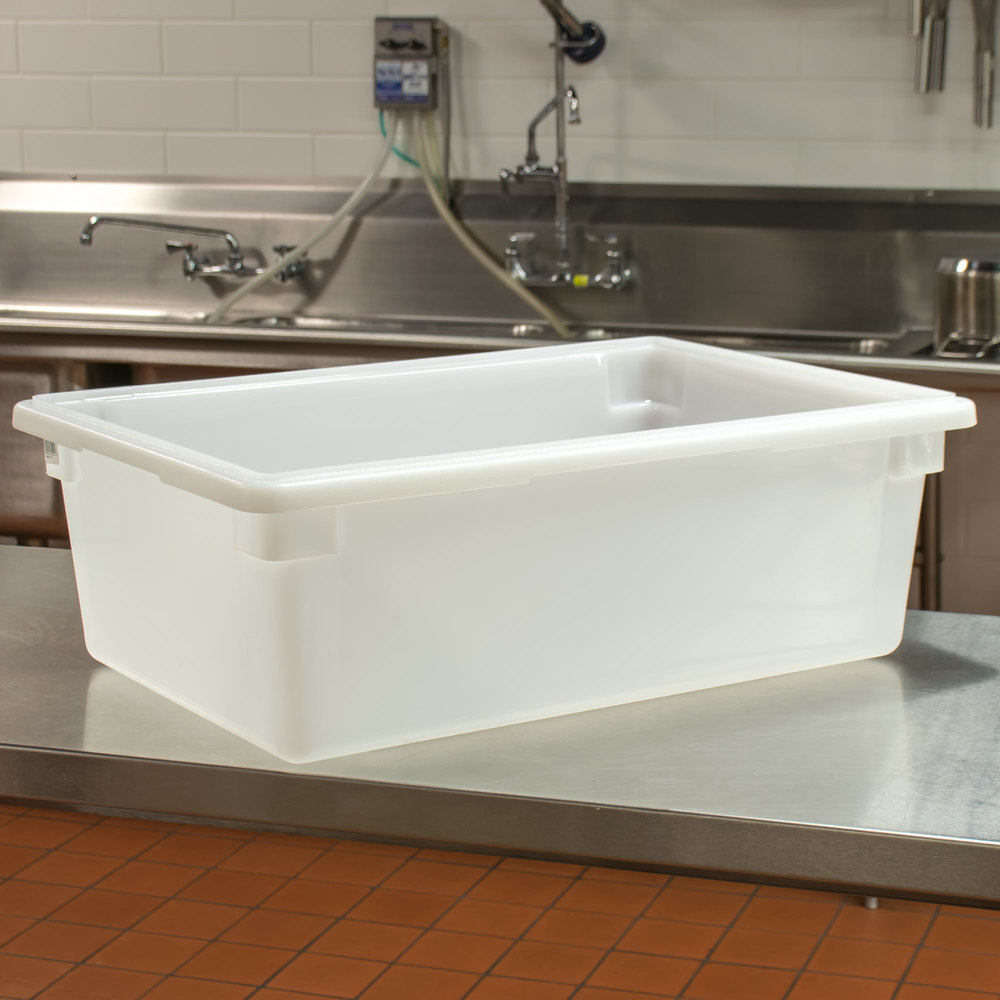 "Cambro 18269P148 18"" x 26"" x 9"" White Poly Food Storage Box"