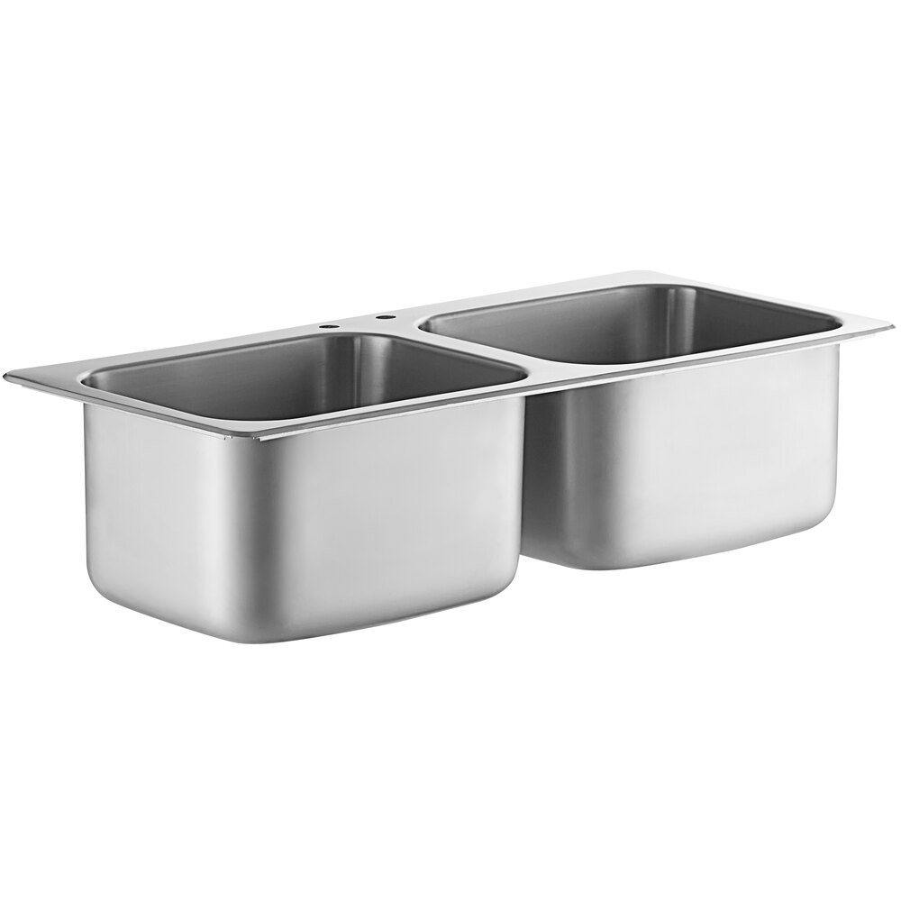 Regency 20 inch x 16 inch x 12 inch 20 Gauge Stainless Steel Two Compartment Drop-In Sink