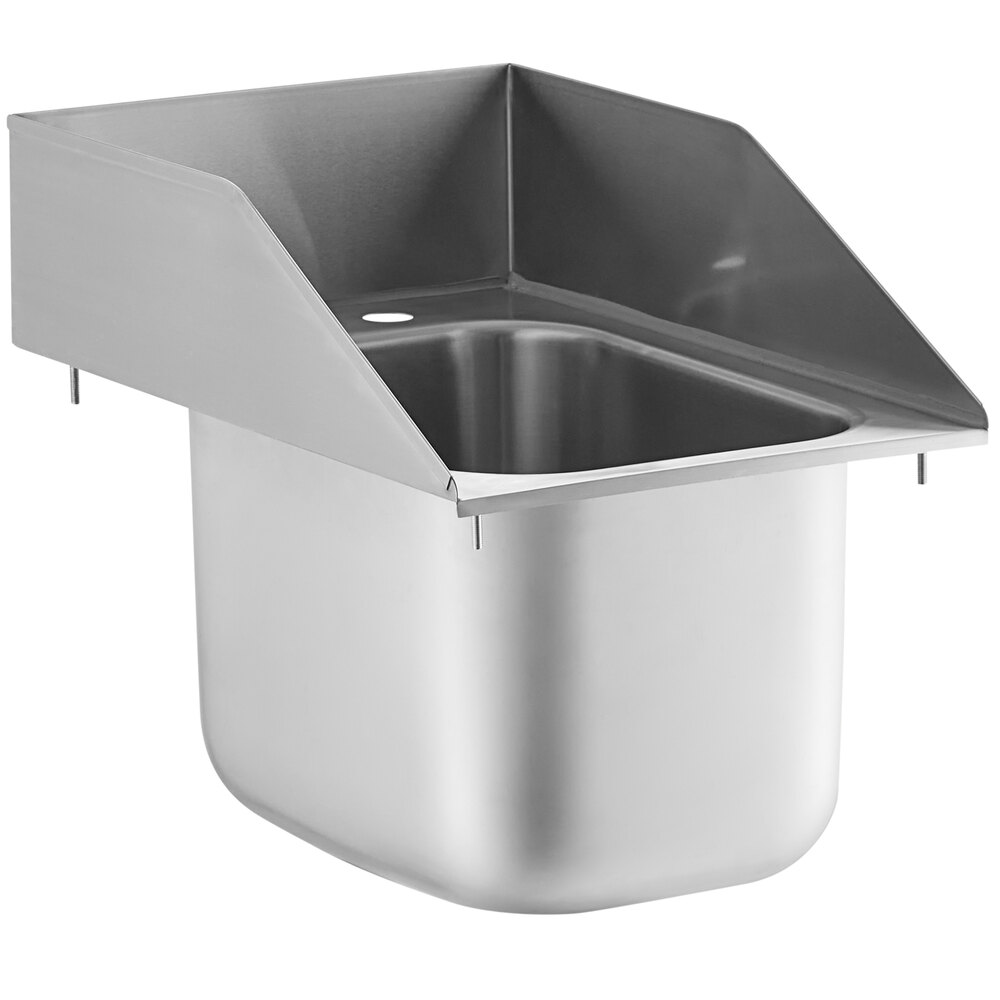 Regency 10 inch x 14 inch x 10 inch 20 Gauge Stainless Steel One Compartment Drop-In Sink with Side Splashes