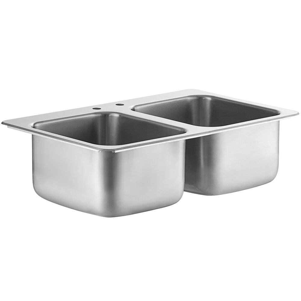 Regency 14 inch x 16 inch x 10 inch 20 Gauge Stainless Steel Two Compartment Drop-In Sink