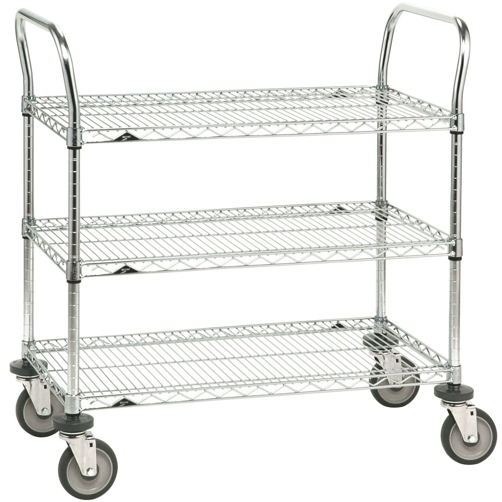 "Metro 3SPN53DC Super Erecta Chrome Three Shelf Heavy Duty Utility Cart with Polyurethane Casters - 24"" x 36"" x 39"""