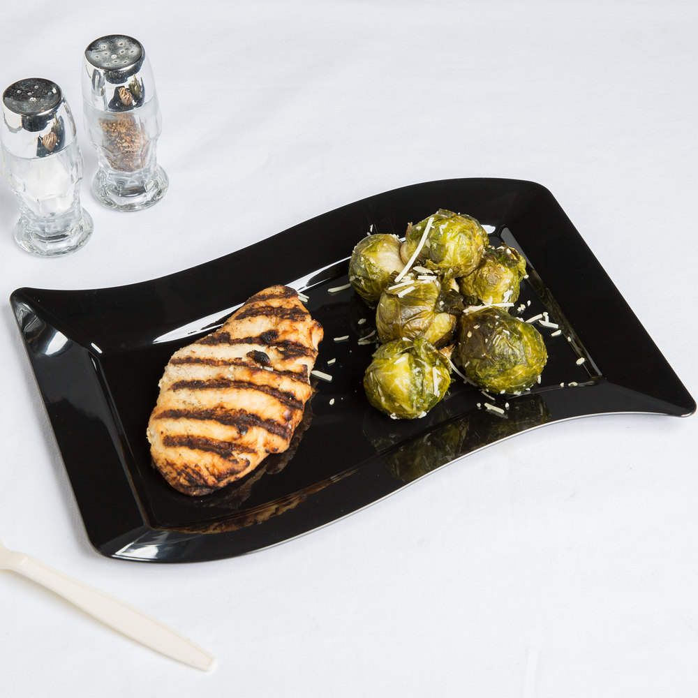 "Fineline Wavetrends 1407-BK 7 1/2"" x 12"" Black Plastic Luncheon Plate - 120/Case"