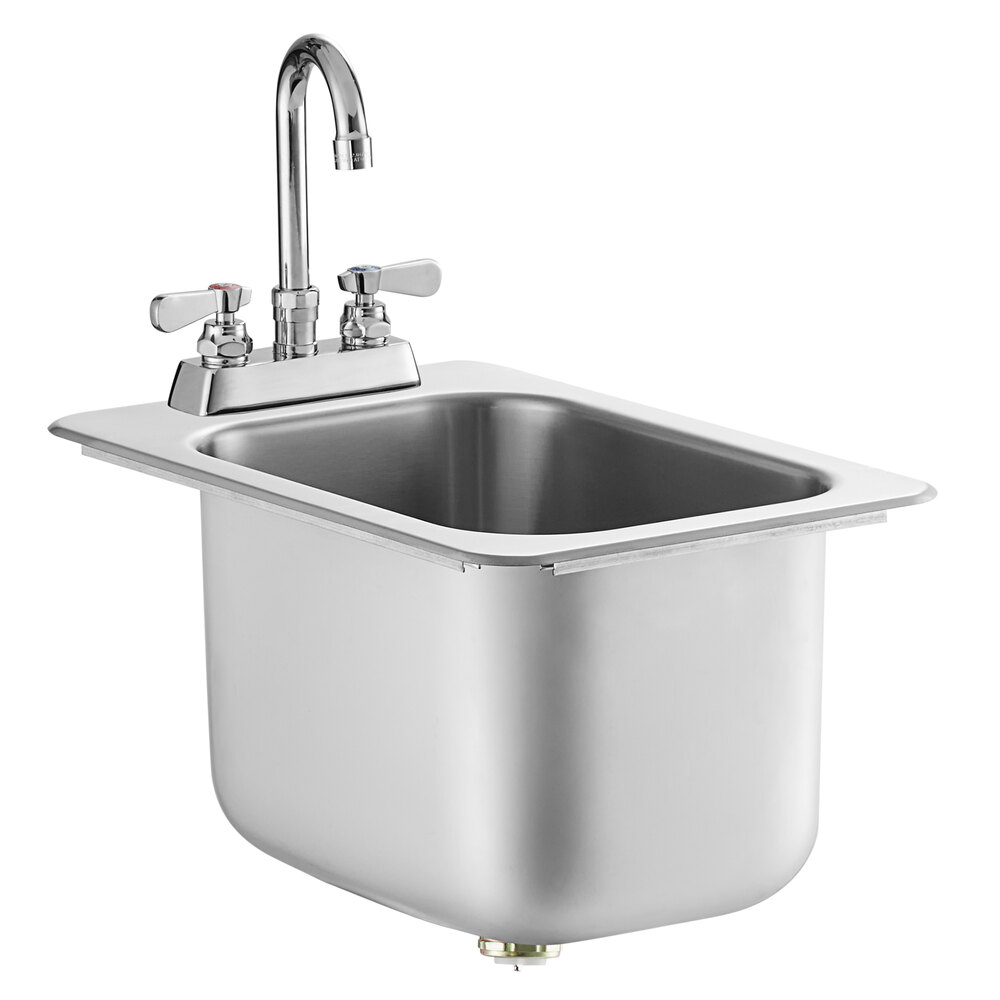Regency 10 inch x 14 inch x 10 inch 20 Gauge Stainless Steel One Compartment Drop-In Sink with 8 inch Gooseneck Faucet