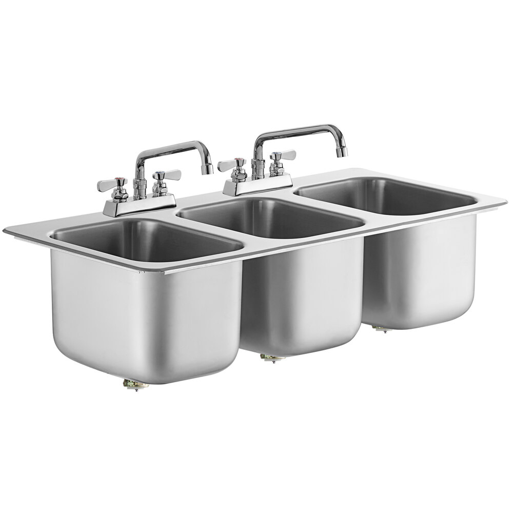 Regency 10 inch x 14 inch x 10 inch 20 Gauge Stainless Steel Three Compartment Drop-In Sink with (2) 12 inch Swing Faucets