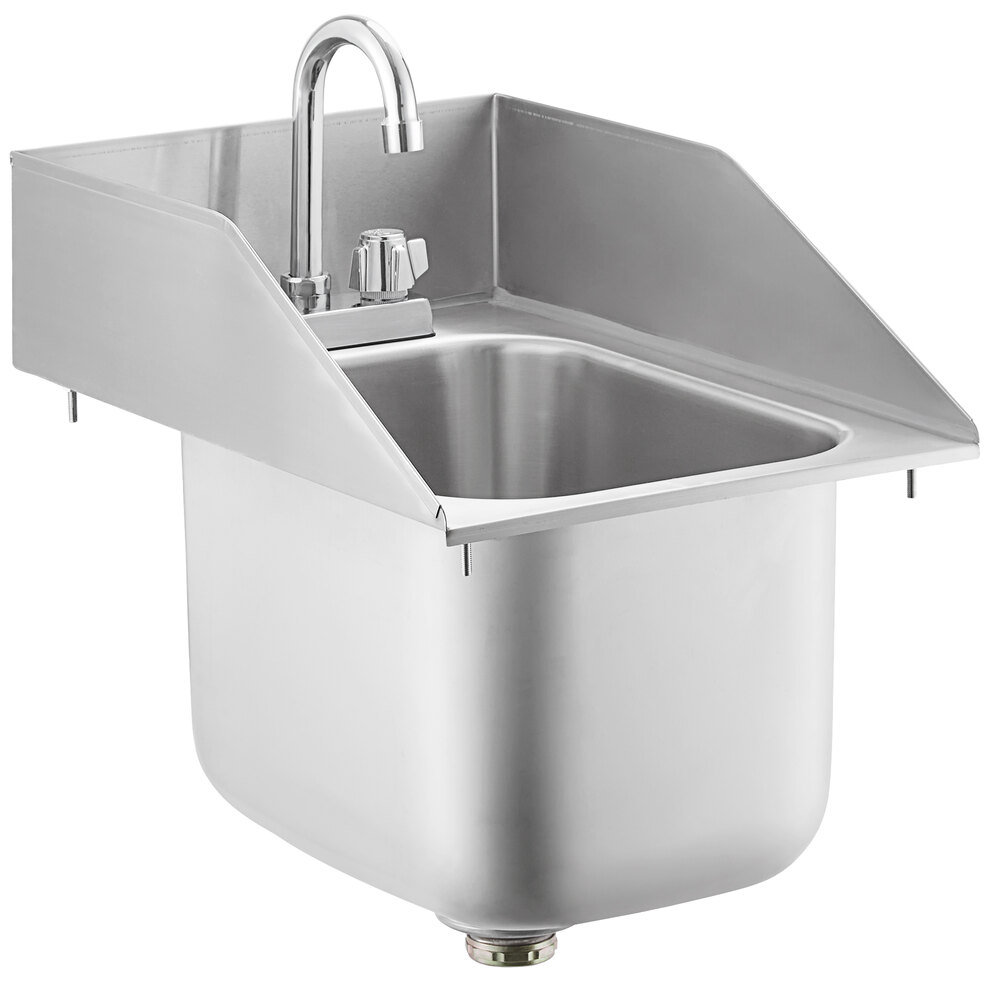 Regency 10 inch x 14 inch x 10 inch 20 Gauge Stainless Steel One Compartment Drop-In Sink with Gooseneck Faucet and Side Splashes