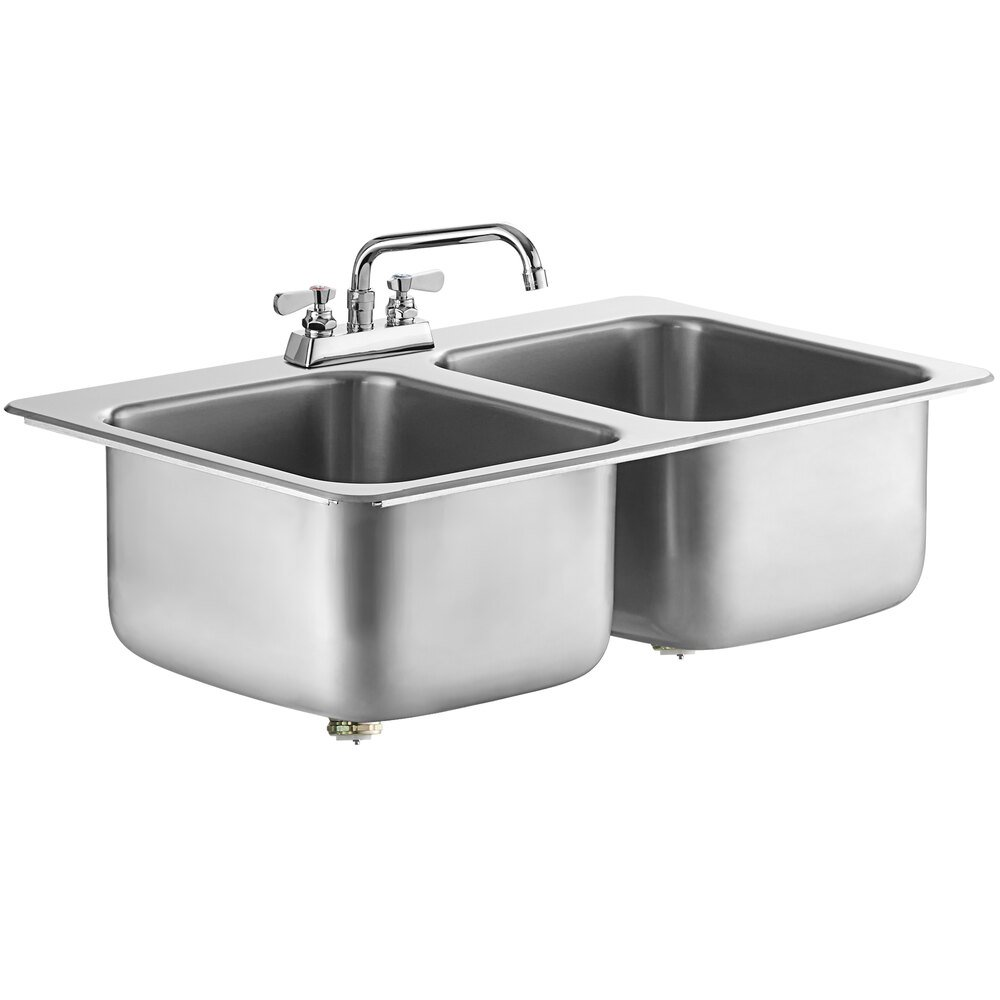 Regency 14 inch x 16 inch x 10 inch 20 Gauge Stainless Steel Two Compartment Drop-In Sink with 8 inch Swing Faucet