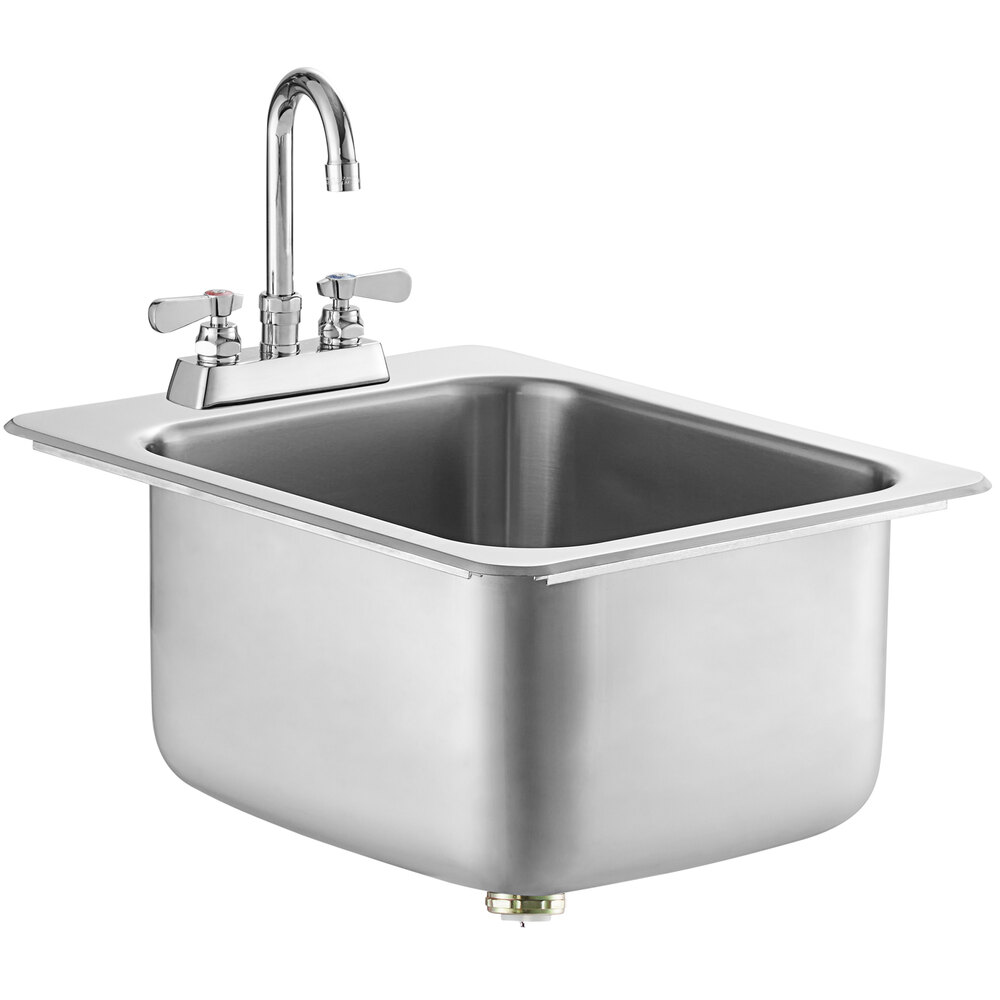 Regency 14 inch x 16 inch x 10 inch 20 Gauge Stainless Steel One Compartment Drop-In Sink with 8 inch Gooseneck Faucet