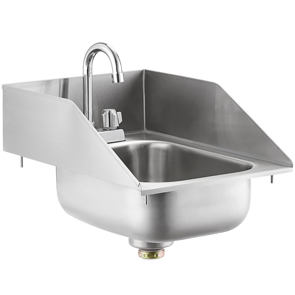 Regency 10 inch x 14 inch x 5 inch 20 Gauge Stainless Steel One Compartment Drop-In Sink with Gooseneck Faucet and Side Splashes