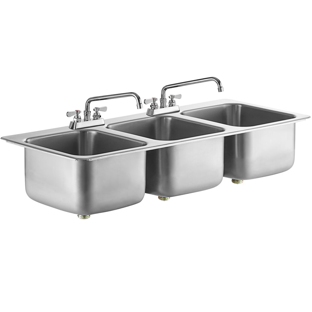 Regency 14 inch x 16 inch x 10 inch 20 Gauge Stainless Steel Three Compartment Drop-In Sink with (2) 12 inch Swing Faucets