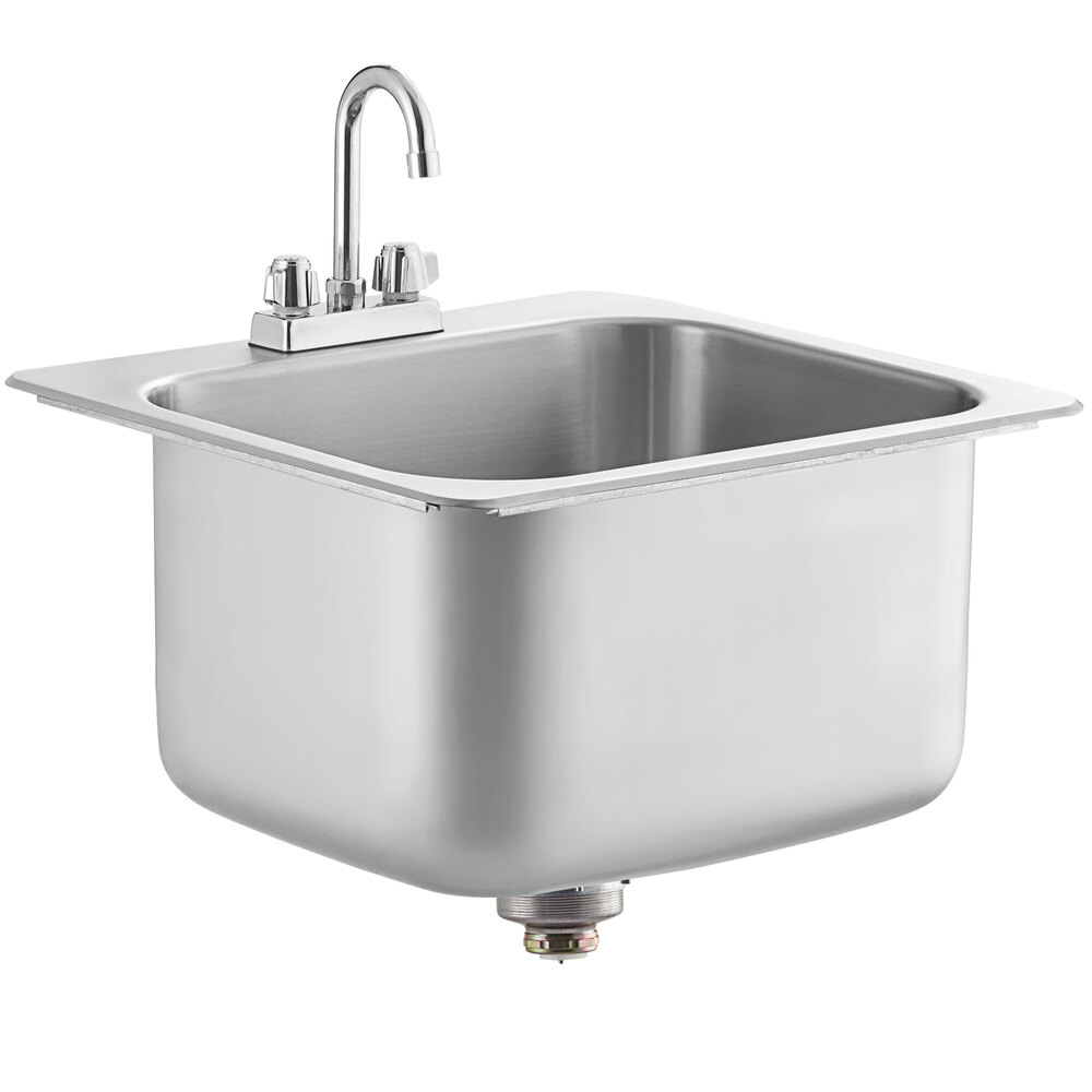 Regency 20 inch x 16 inch x 12 inch 20 Gauge Stainless Steel One Compartment Drop-In Sink with Gooseneck Faucet