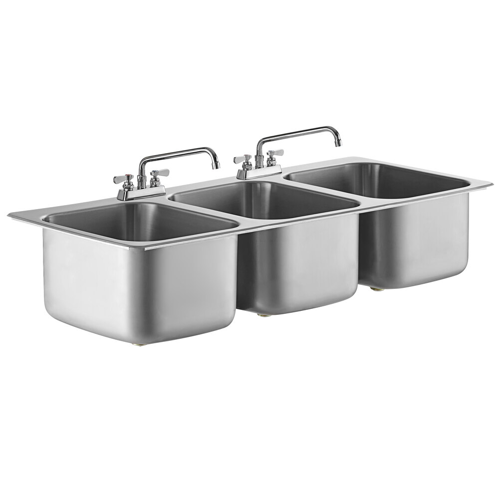 Regency 20 inch x 16 inch x 12 inch 20 Gauge Stainless Steel Three Compartment Drop-In Sink with 12 inch Swing Faucets