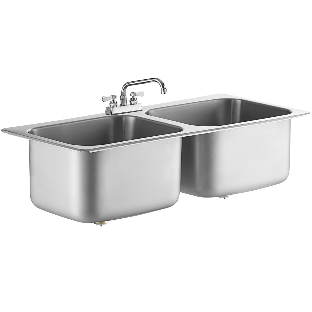 Regency 20 inch x 16 inch x 12 inch 20 Gauge Stainless Steel Two Compartment Drop-In Sink with 8 inch Swing Faucet