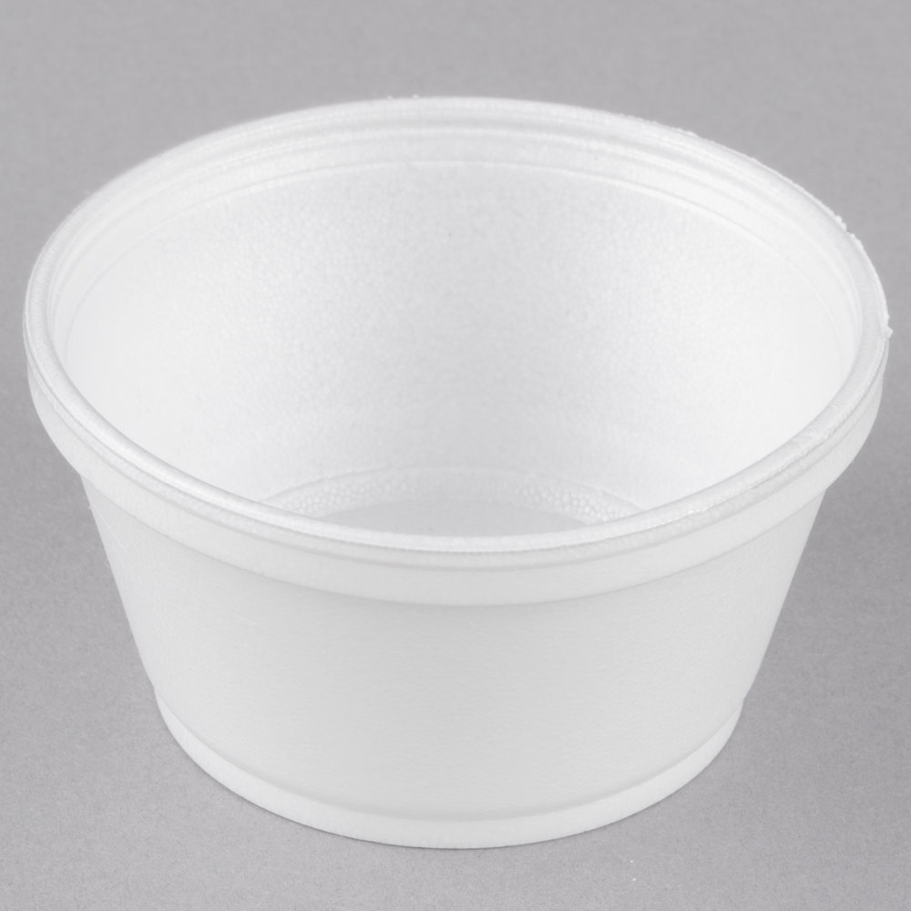 Dart 8sj20 8 Oz Extra Squat White Foam Food Bowl 50 Pack