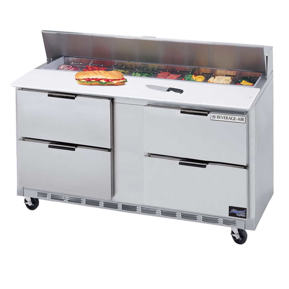 "Beverage Air SPED60-10C-4 60"" Refrigerated Salad / Sandwich Prep Table with Four Drawers - Cutting Board Top"