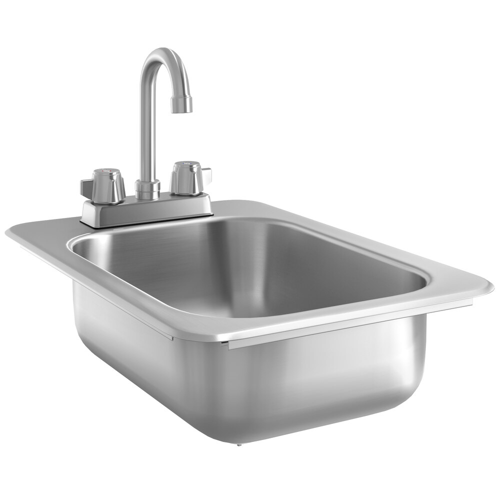 Regency 10 inch x 14 inch x 5 inch 20 Gauge Stainless Steel One Compartment Drop-In Sink with 8 inch Gooseneck Faucet