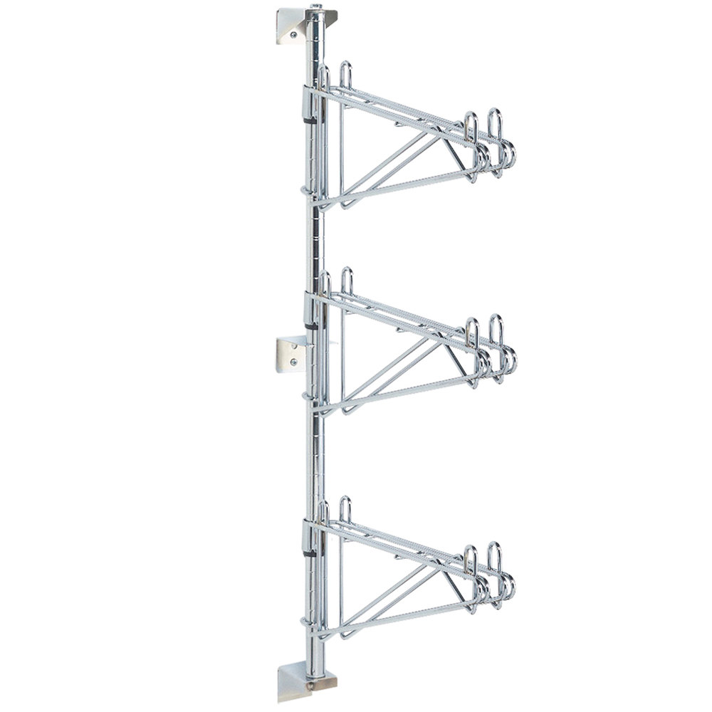 "Metro AW25C Super Erecta Chrome Triple Level Post-Type Wall Mount Mid Unit for 14"" Deep Shelf"