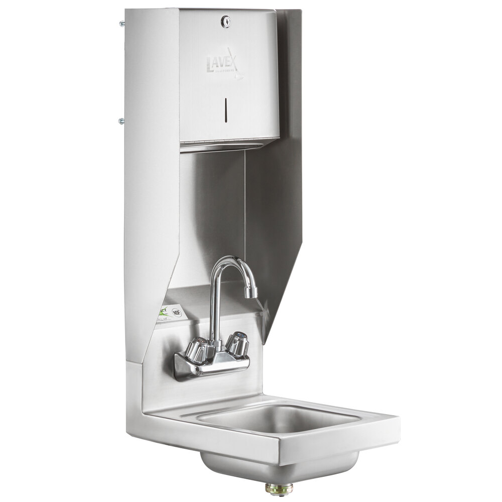 Regency 12 inch x 16 inch Wall Mounted Hand Sink with Gooseneck Faucet and Top Mounted Paper Towel Dispenser