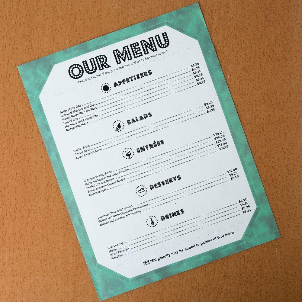"8 1/2"" x 11"" Green Menu Paper - Angled Marble Border - 100/Pack"