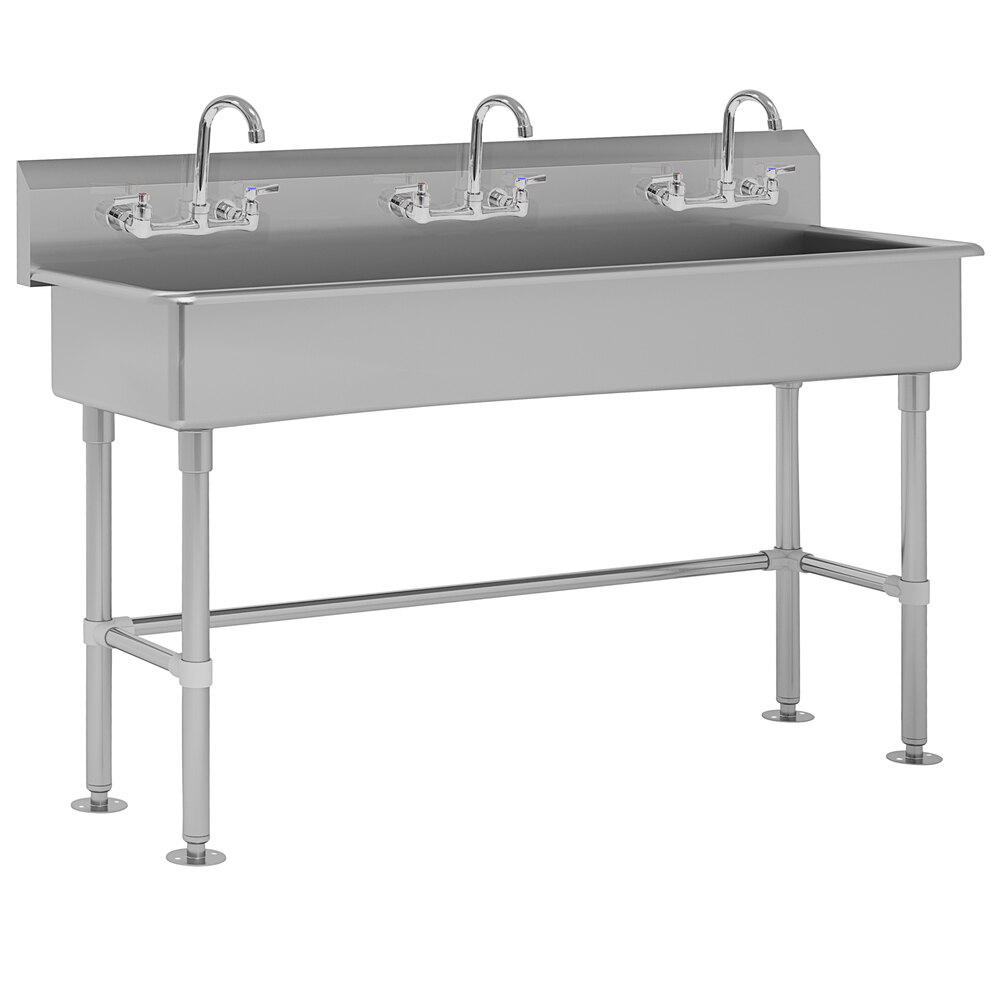 Advance Tabco Fc Fm 60 F 16 Gauge Multi Station Hand Sink With 8 Deep Bowl And 3 Faucets 60 X 19 1 2