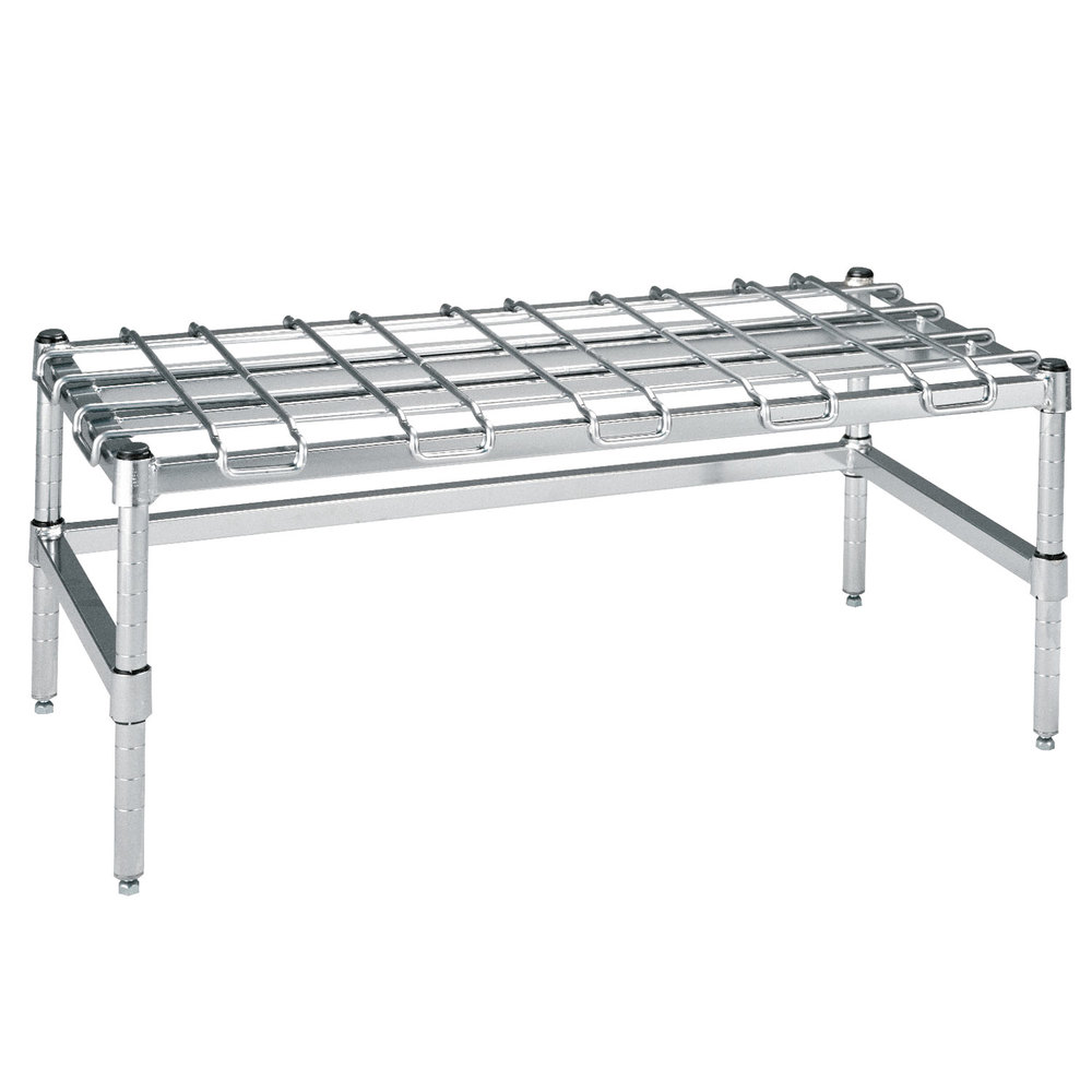 "Metro HDP36S 18"" x 60"" x 16 1/4"" Super Heavy Duty Stainless Steel Dunnage Rack with Wire Mat - 2400 lb. Capacity"