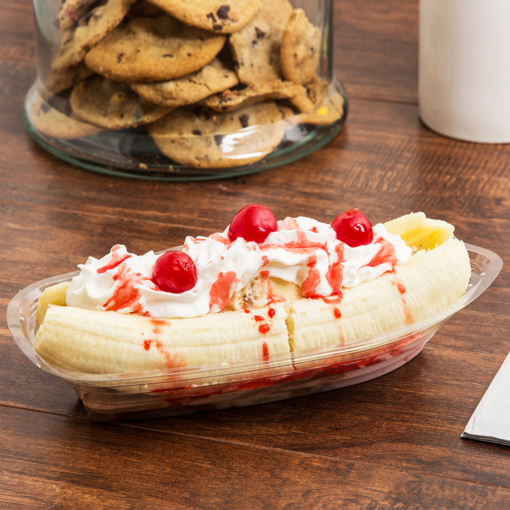 12 oz. Clear Plastic Banana Split Boat - 500/Case