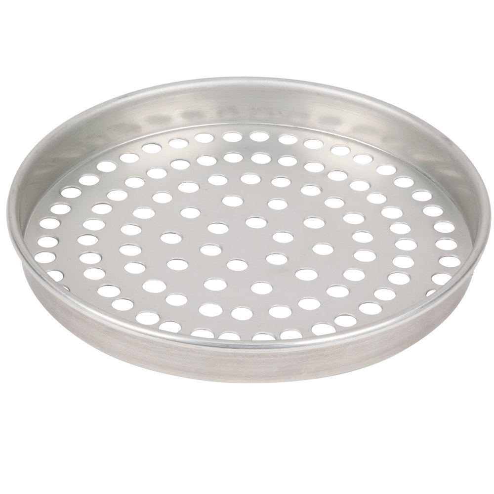 "American Metalcraft T4014SP 14"" x 1"" Super Perforated Tin-Plated Steel Straight Sided Pizza Pan"
